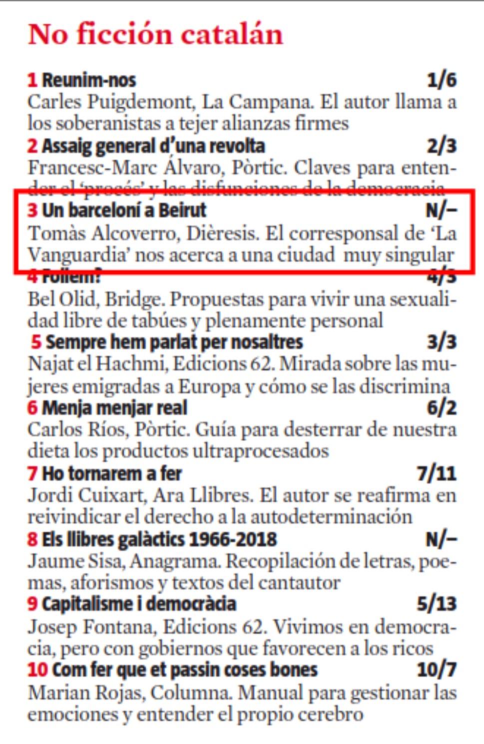 """""""Un barceloní a Beirut"""", nº3 a la llista de best sellers de La Vanguardia"""