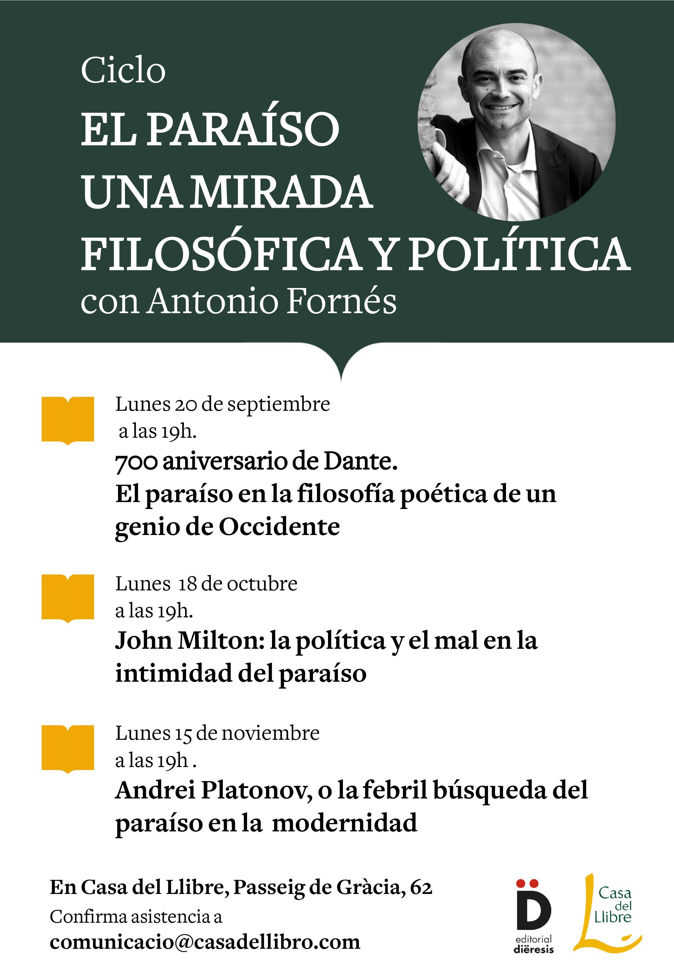 Antonio Fornés nos lleva al Paraíso en sus charlas filosóficas en Casa del Libro