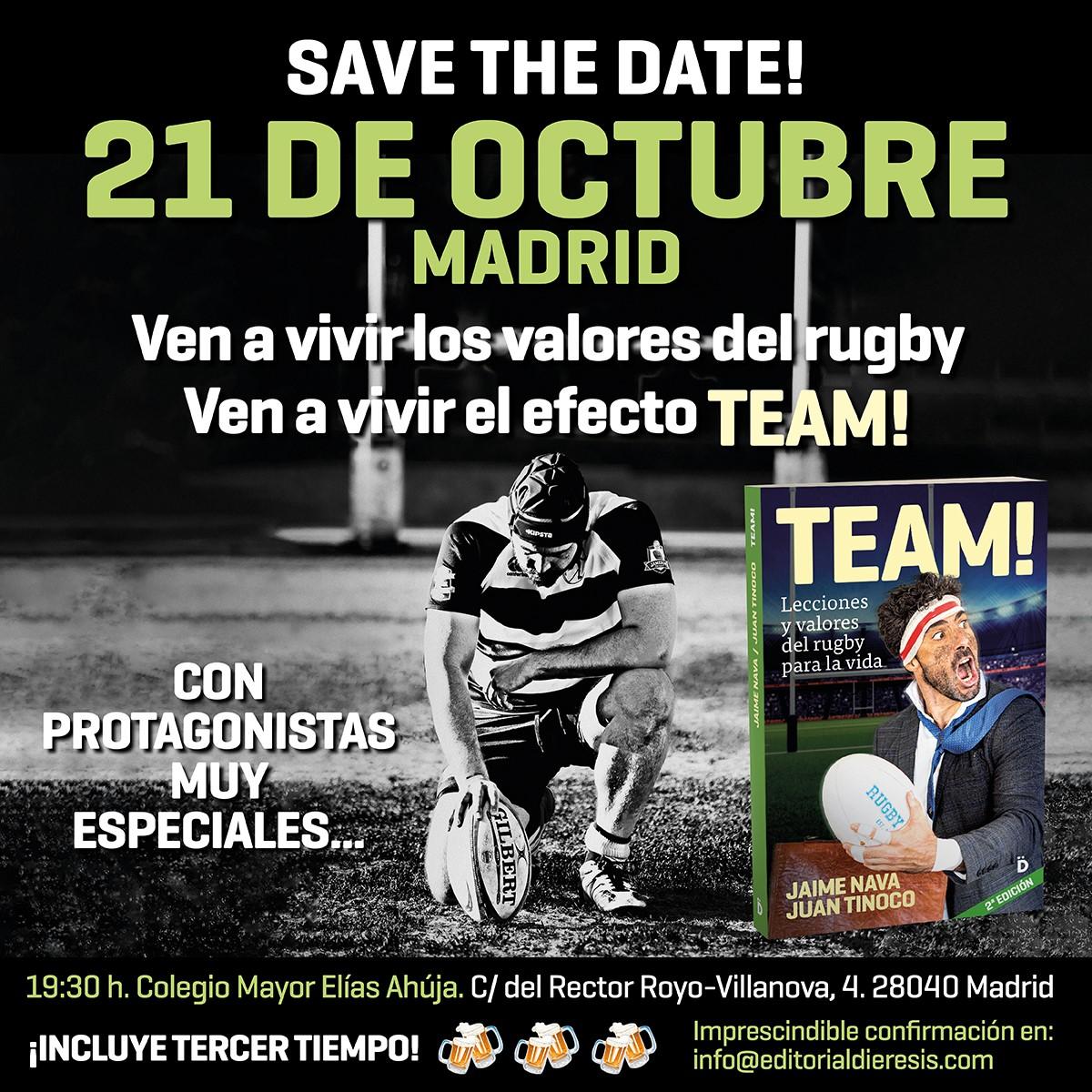 Ven a hacer TEAM! con nosotros el 21 de octubre en Madrid